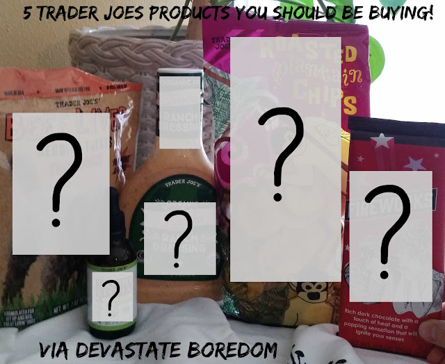 Pop Quiz for Trader Joe's shoppers -- how many of these items can you identify at a glance?  They're the 5 best Trader Joe's products that I'm pretty sure you haven't found yet... cheap, unusual, delicious, and fun items for you to try out on your next shopping trip!  via Devastate Boredom