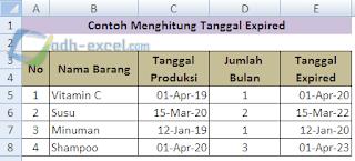 menghitung tanggal kadaluarsa berdasarkan jumlah tahun