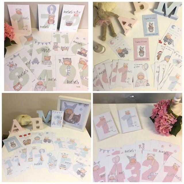 milestone cards baby -tarjetas 12 meses para fotos de bebés
