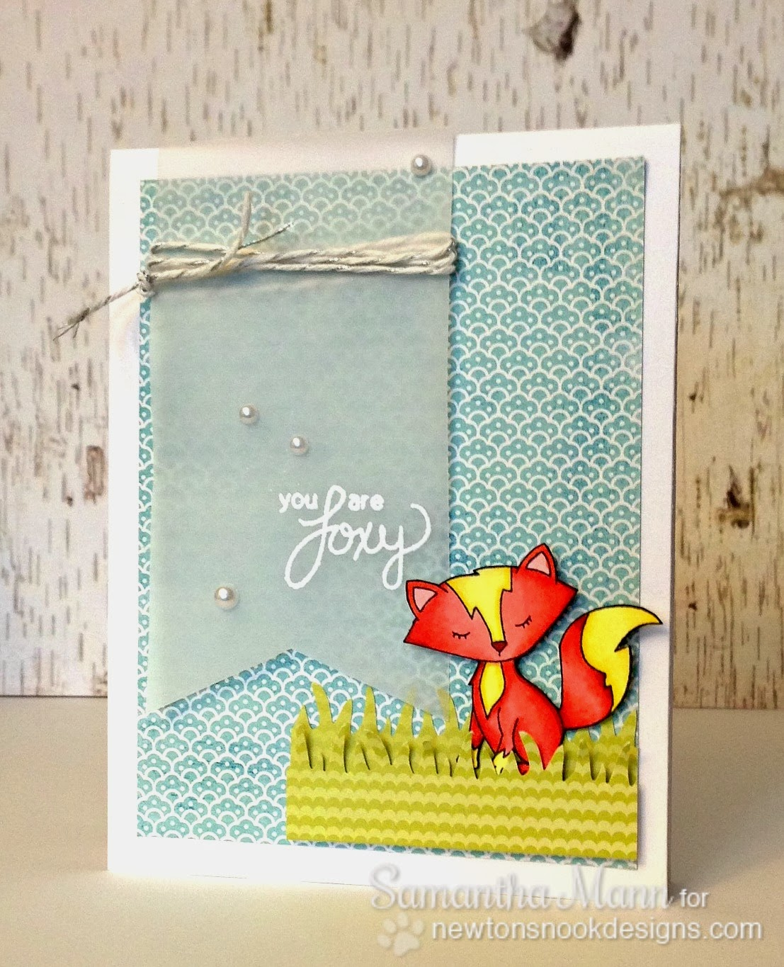 Fox card by Samantha Mann using Sweetheart Tails stamp set by Newton's Nook Designs