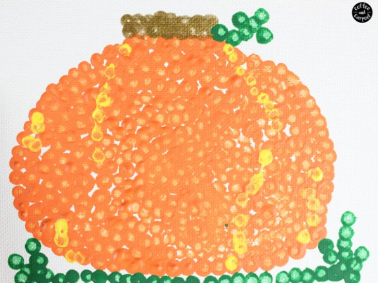 pointillism pumpkin art autumn craft for kids