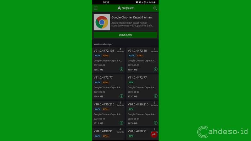 Menggunakan Aplikasi Goole Chrome Versi Lawas