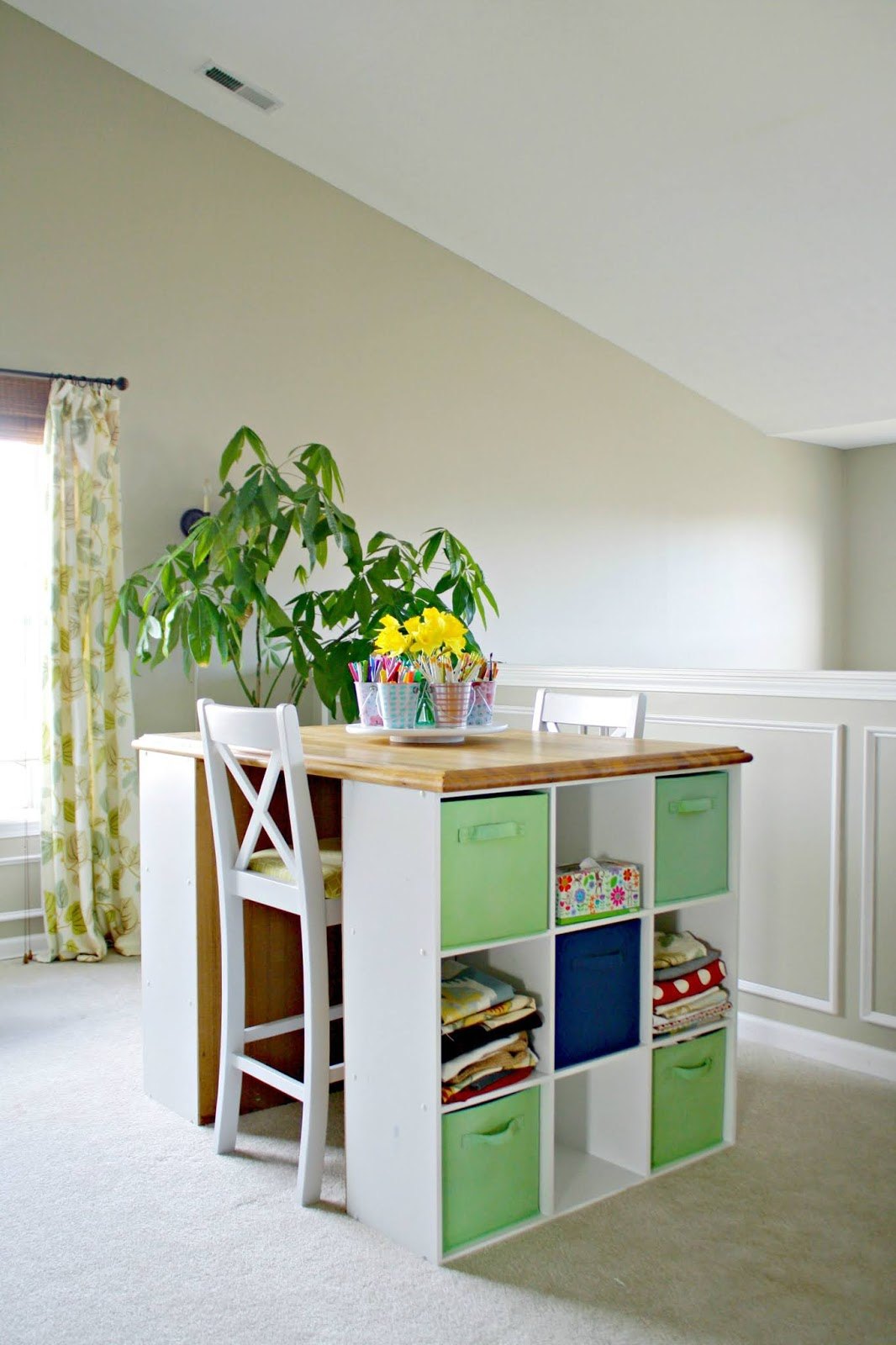 DIY craft desk with cubbies