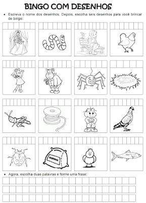 Bingo com desenhos das palavras que têm NH
