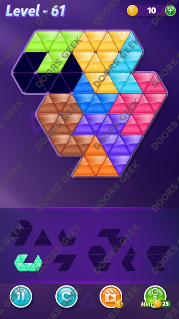 Block! Triangle Puzzle Proficient Level 61 Solution, Cheats, Walkthrough for Android, iPhone, iPad and iPod