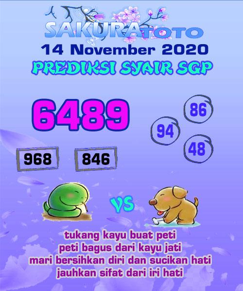 Syair Sakuratoto SGP Sabtu 14 November 2020
