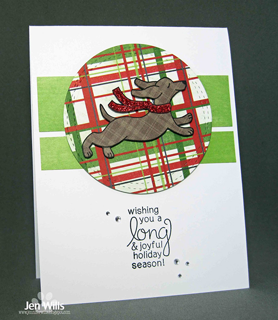 Inky Paws Challenge #37 | Plaid Christmas card with Dachshund by Jen W | Holiday Hounds Stamp set by Newton's Nook Designs #newtonsnook