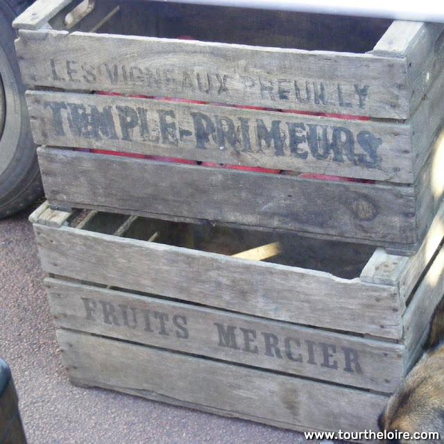 Vintage fruit boxes, Indre et Loire, France. Photo by Loire Valley Time Travel.