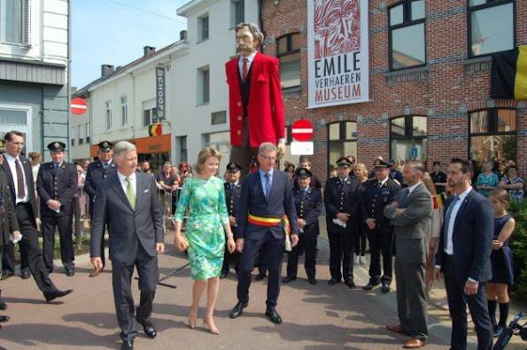 King Philippe and Queen Mathilde visited the 'Emile Verhaeren, een dichter voor Europa' exhibition on late 19th – early 20th century poet Emile Verhaeren in Sint-Amands