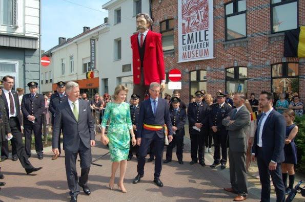 King Philippe and Queen Mathilde visited the 'Emile Verhaeren, een dichter voor Europa' exhibition on late 19th – early 20th century poet Emile Verhaeren in Sint-Amands