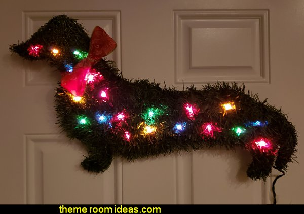 Illuminated Dachshund Wreath 20 mini lights Dog Christmas Puppy X-mas Doxie Wiener light up decoration