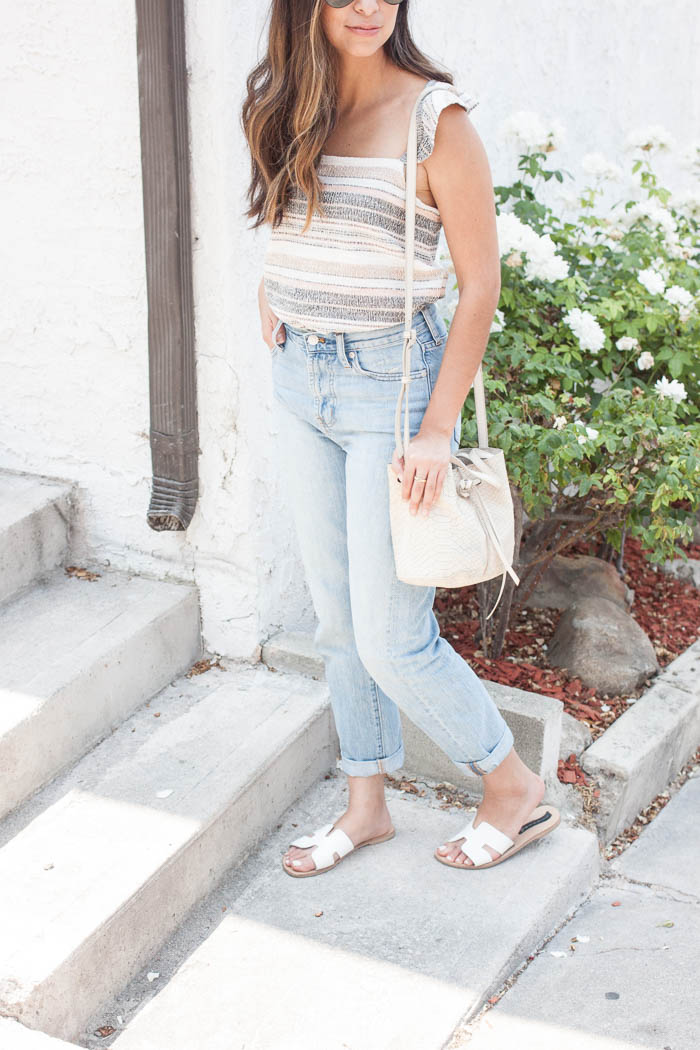 pastel stripe tank, light blue mom jeans