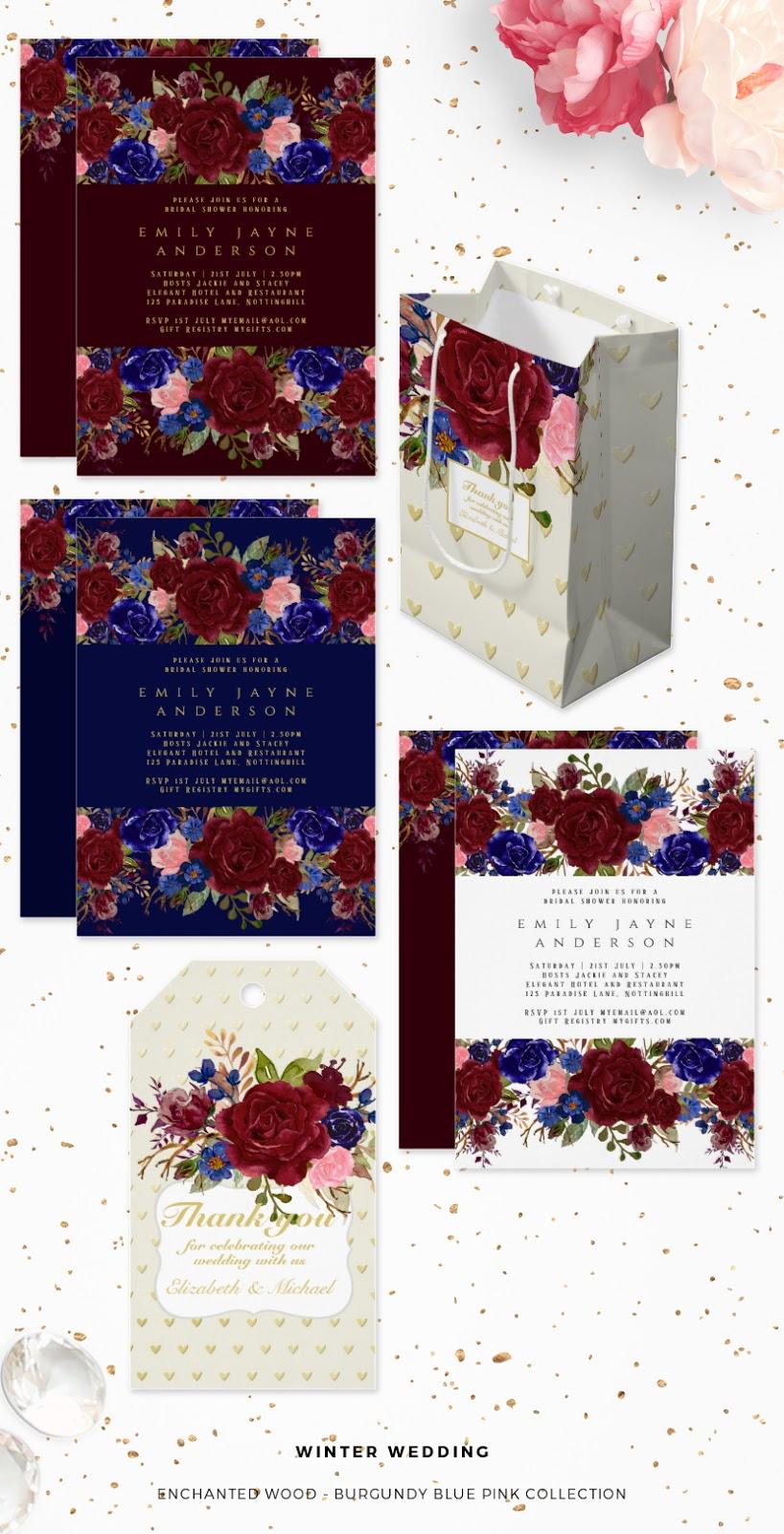 winter wedding invitations navy blue burgundy floral
