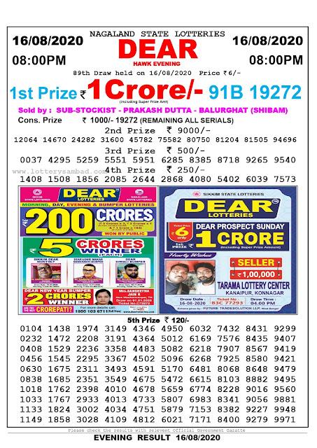 Lottery Sambad Result 16.08.2020 Dear Hawk Evening 8:00 pm