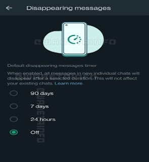 WhatsApp for Android Testing Disappearing Mode