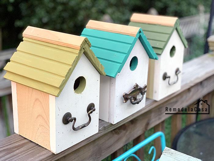 Bird houses with repurposed hardware