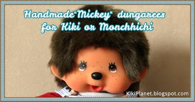 kiki monchhichi mickey salopette handmade vêtement clothes fait main poupée