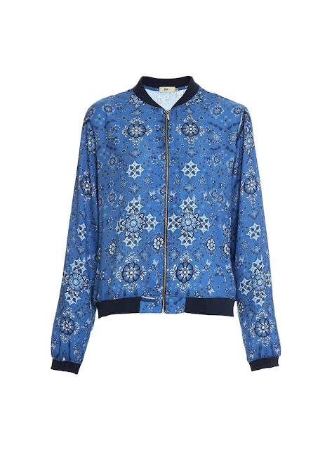Jaqueta Bomber Azul Estampada