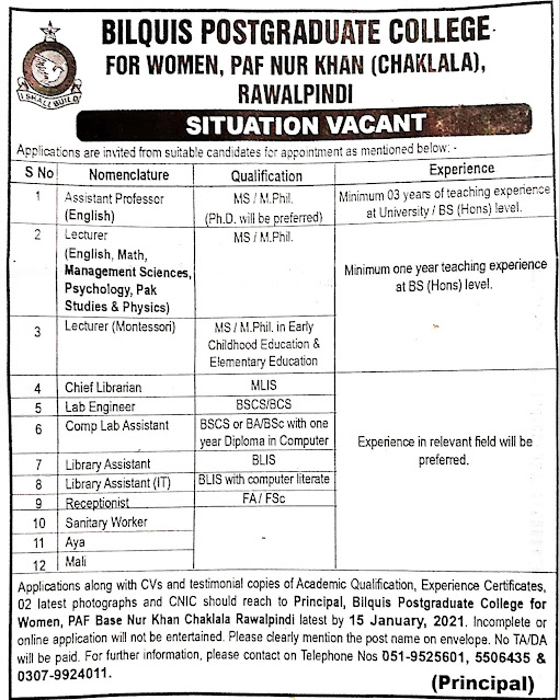 Latest Private Jobs 2021 in Bilquis Postgraduate College For Women, PAF Nur Khan Rawalpindi