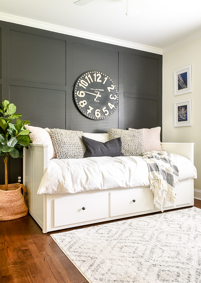 Dark and moody coastal bedroom decor