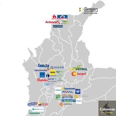 mapa empresas más grandes de Colombia