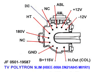 Data Pin Out Flyback JF0501-19587 TV Polytron SLIM (HBEE-008A DN21A845 M01R1)