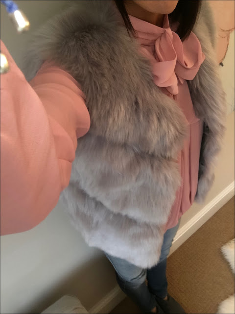 My Midlife Fashion, Faux Fur Gilet, Somerset by alice temperley bow blouse blush, hush thornton ankle boots
