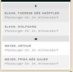 1939 German Minority Census Pfalzsburger Straße 34 Therese (nee Knöffler) & Wolfgang Elkan