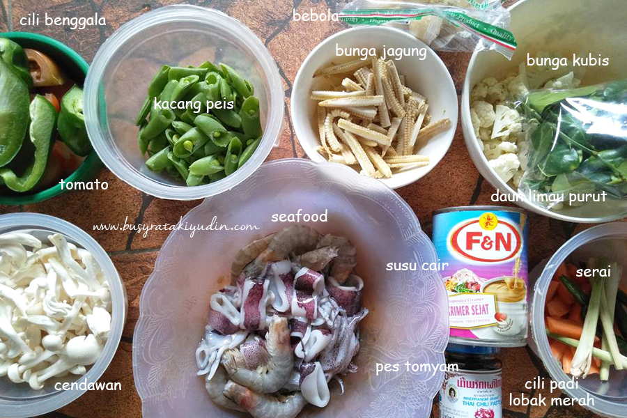 tomyam pedas, tomyam seafood, resepi tomyam seafood, susu cair, tomyam, resepi,