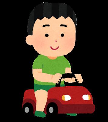 足けり乗用玩具に乗る子供のイラスト