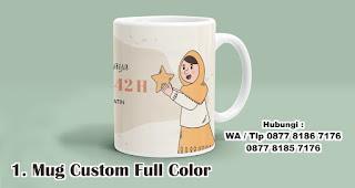 Mug Custom Full Color merupakan salah satu rekomendasi souvenir spesial idul fitri yang unik dan menarik