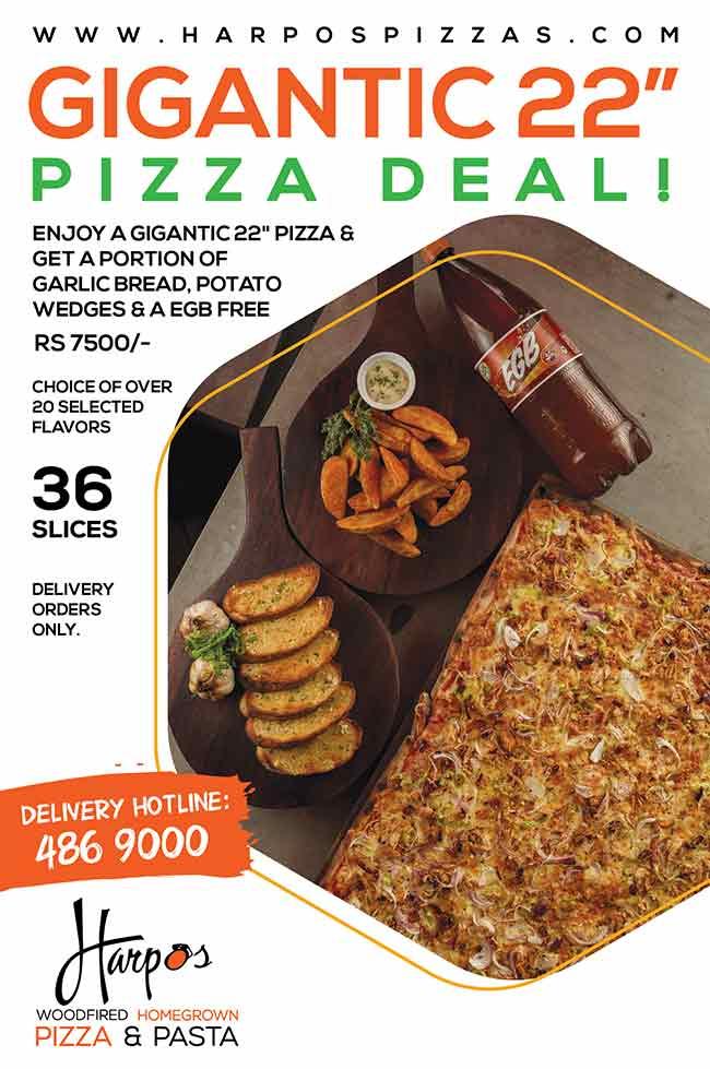 Enjoy a sumptuous gigantic ( 22' ) Square Harpo's Pizza