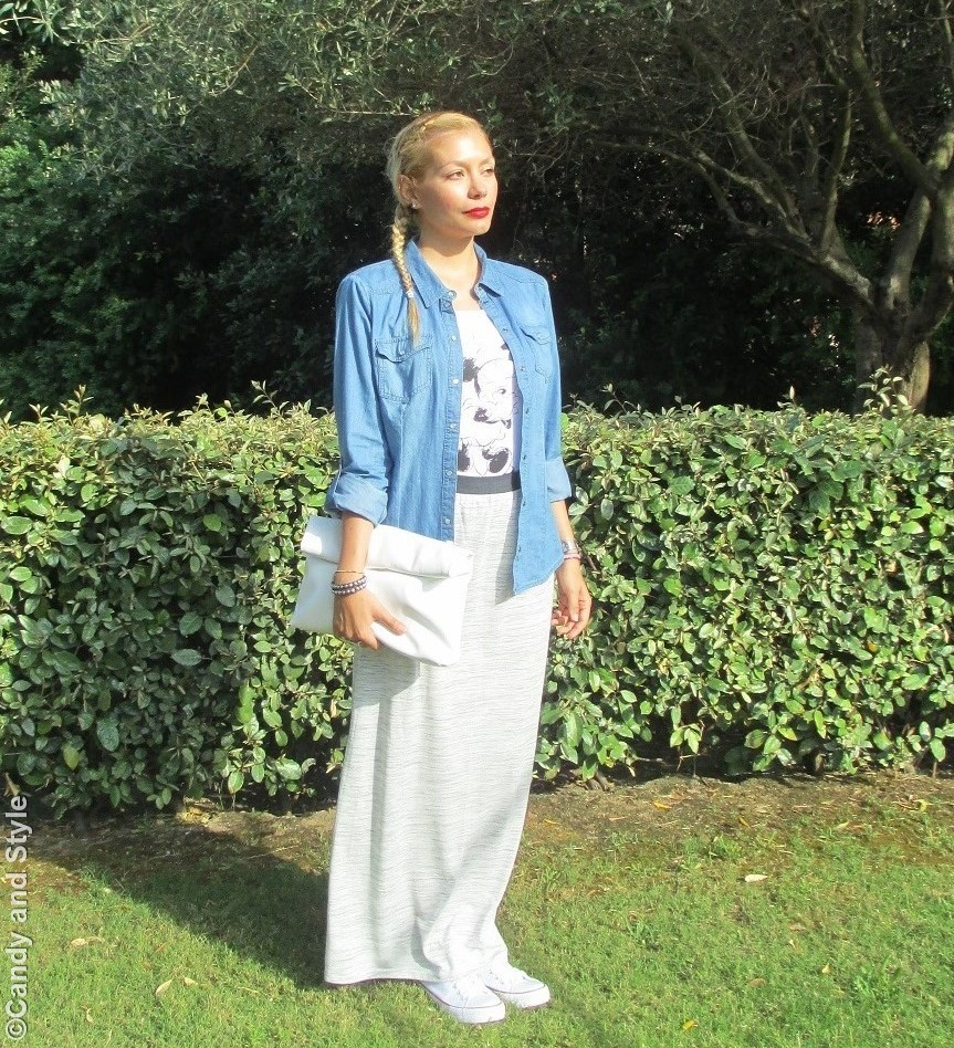 Denim Shirt, Maxi Skirt, Sneakers, Lunch Bag - Lilli Candy and Style Fashion Blog