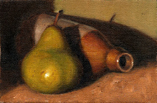 Oil painting of a green pear beside an earthenware bottle lying on its side.