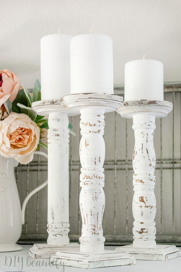 farmhouse chippy spindle candlesticks