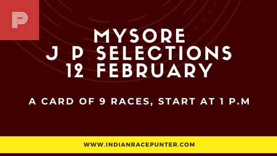 Mysore Jackpot Selections 12 February, Jackpot Selections by indianaracepunter,