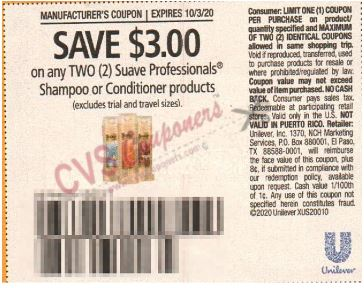"$3.00/2 Suave Hair Care Coupon from ""RetailMeNot"" insert week of 9/20/20."