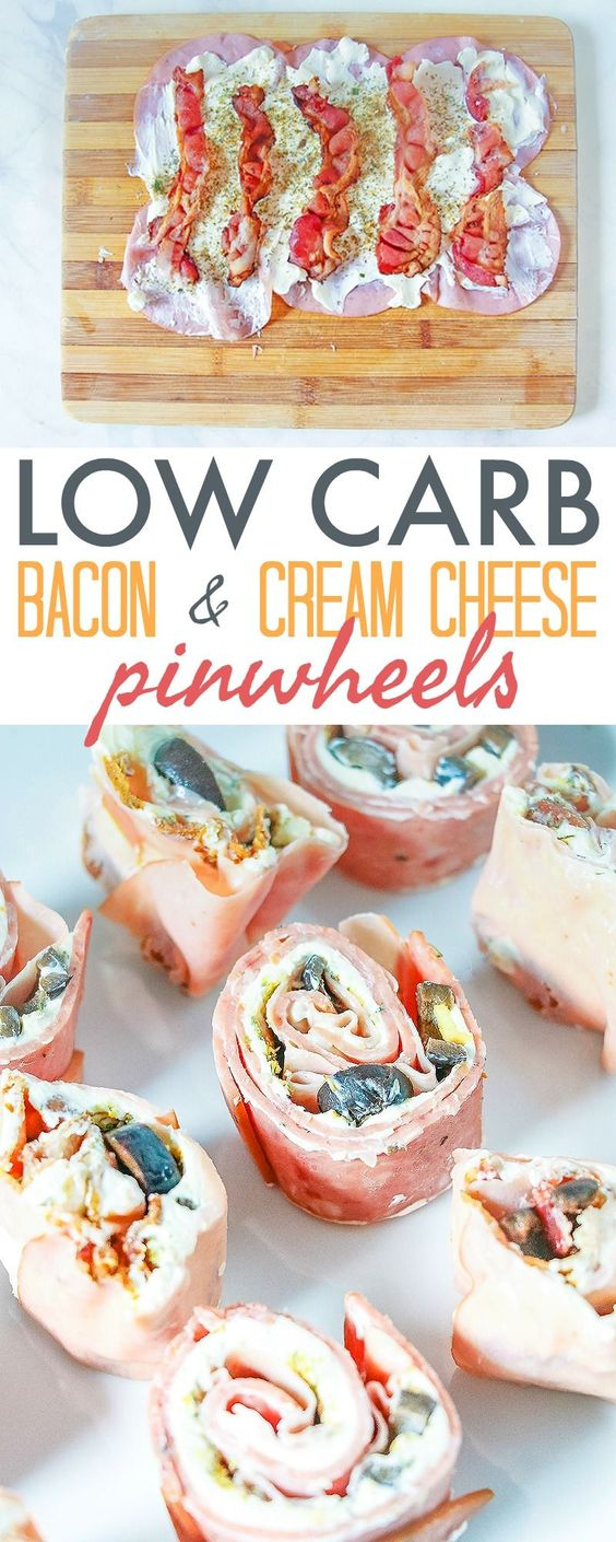 Low Carb Pinwheels with Bacon and Cream Cheese