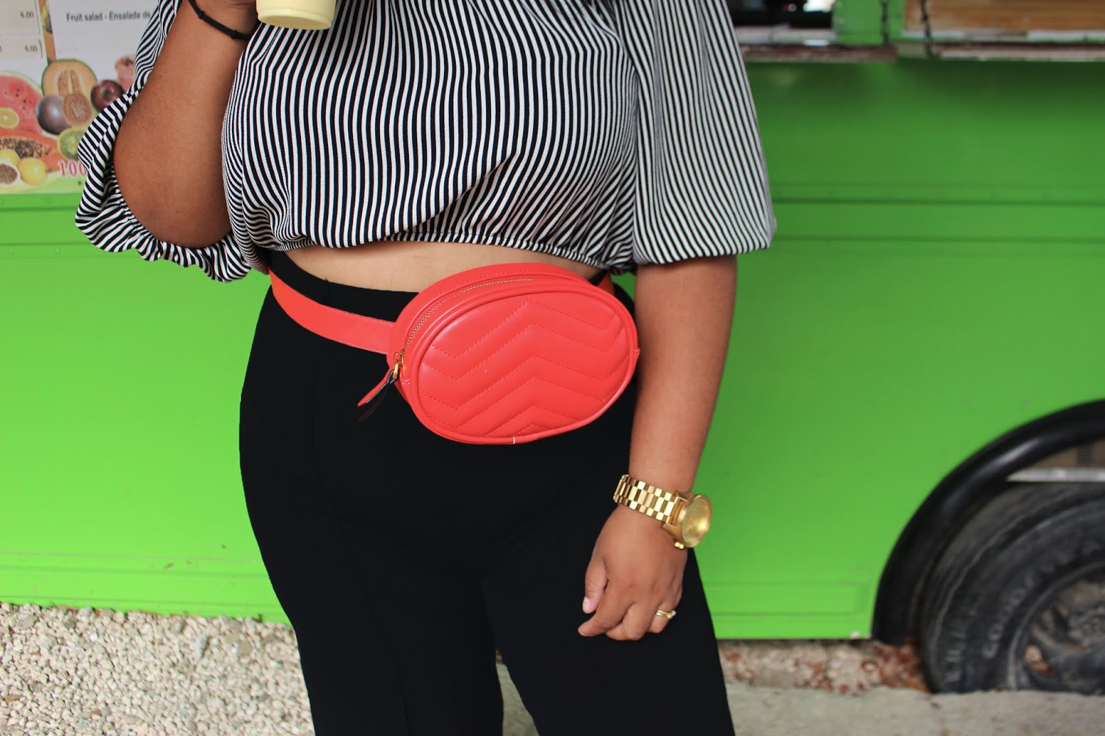 fanny pack, shana, high waist, plus size blogger, fashion, curacao, styling, summer style