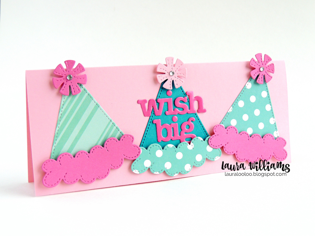 Wish Big! Check out this slimline birthday card with the party hat die from Impression Obsession. Mix and match adorable party hats with this die set, and pair it with the number and birthday word dies for festive and fun handmade birthday cards and party crafts. Stop by my blog to see more celebration and birthday crafts.