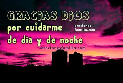 Imagen con oracion gracias Dios por cuidarnos