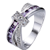 Jewelry Purple Women's Wedding Zircon Cross White Gold