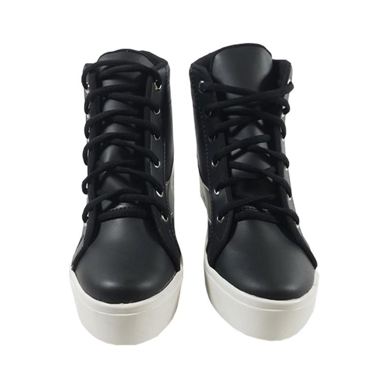 MEGUMI Sneakers Hidden Wedges Cewek Korea Casual / Sneaker Wanita Hitam Slash Silver4