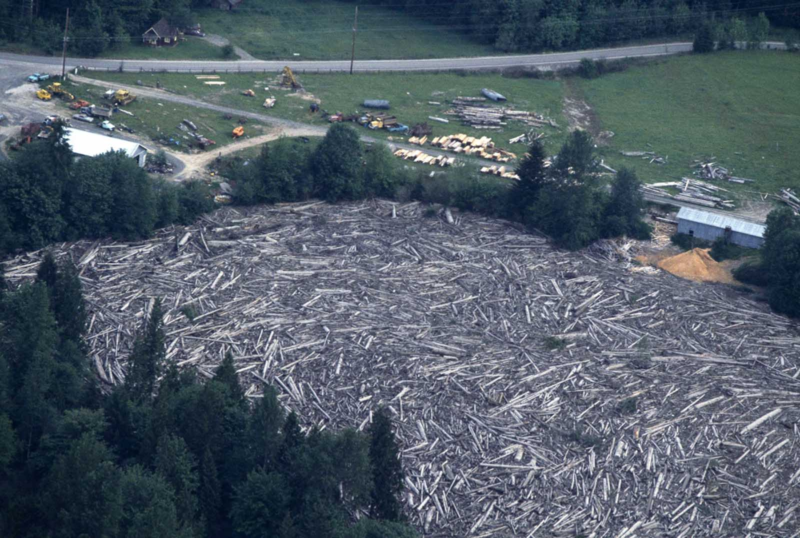 An aerial view of destruction of logging operation after floods following Mount St. Helens' eruption, shown on May 20, 1980.