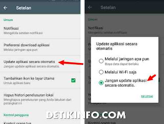 setelan play store update