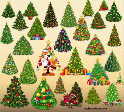 Beautiful Christmas Tree decor elements png