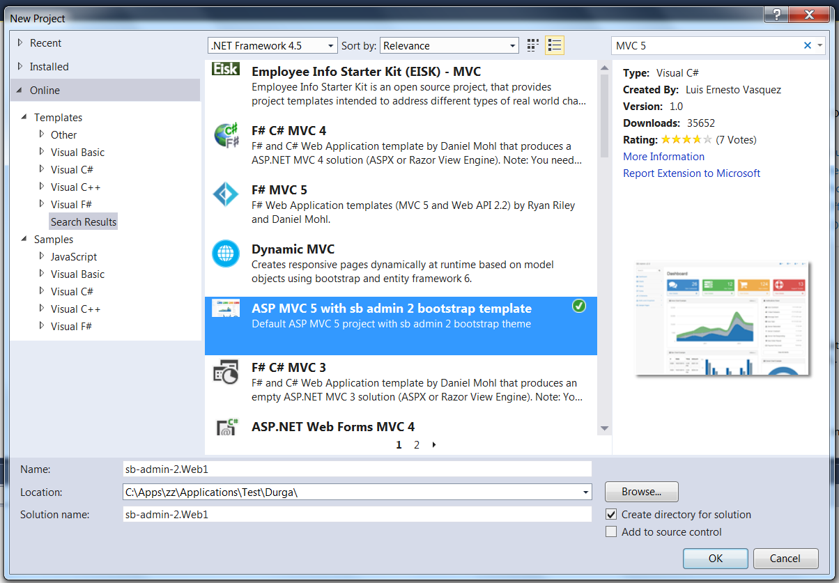 Asp Mvc 5 With Admin Bootstrap Template In Visual Studio 2013
