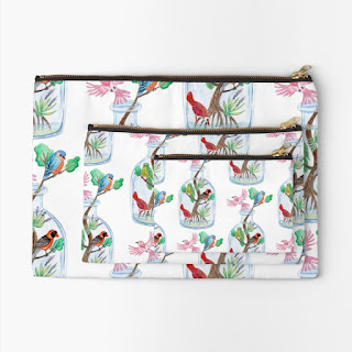 birds in a bottle zipper pouches in three sizes