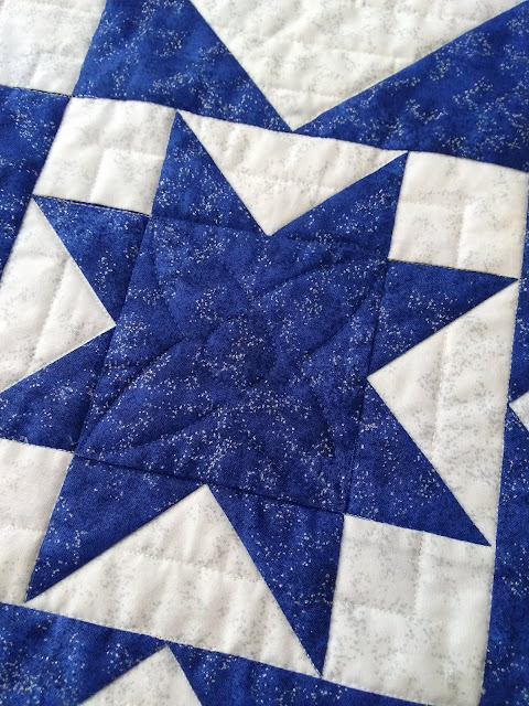 quilting motif detail on blue and white patchwork star block