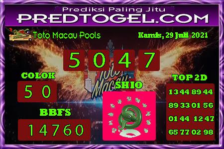 Pred Macau Kamis 29 juli 2021